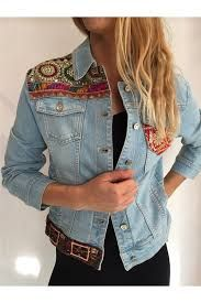 Great way to change denim jacket Denim Fashion, Boho Fashion, Cool Outfits, Casual Outfits, Diy Clothes, Clothes For Women, Denim Ideas, Mein Style, Denim And Lace