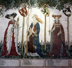 "From a fresco at Castello della Manta in northern Italy. ""Sfilata degli eroi e delle eroine"" (Parade of the heroes and the heroines). I love the colors and elegance of these frescoes"