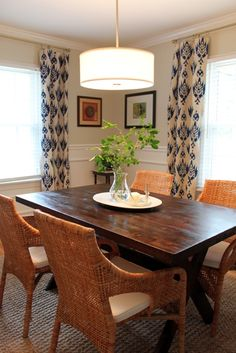 Casual Dining Room Curtains fabric for the window treatments. because her clients were not
