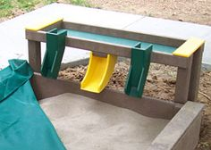 The Sand Table with Chutes can be added to existing sandboxes. The three chutes