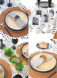 Father's Day Masculine Tablescape Ideas - ideas for a chic, modern but manly table setting in black, white, brown & gold with easy, DIY details! Black Wine Glasses, Small Wooden Tray, Starter Plates, Brunch Decor, Brunch Ideas, Fathers Day Brunch, Mini Photo Frames, Gold Planter, Festive Crafts