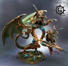 Wood Elf Sisters of Twilight on Forest Dragon