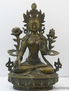 Lg 8 in Old Chinese Tibetan Bronze Buddha Goddess Deity Statue Signed Mark NoRes
