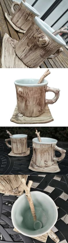 Ceramic Tree Bark Coffee Mug With Saucer Looks Like a Tree trunk.