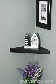 Black corner floating shelf