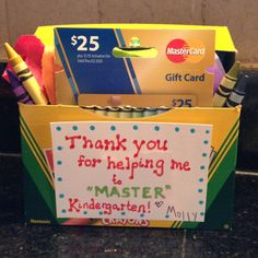 """This is the gift I made for my daughter's teacher.  I bought a Master Card gift card, and then made a play on words about helping Molly to """"master"""" kindergarten."""