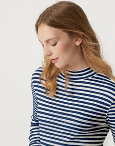 Lola French Navy Stripe High neck jersey top  | Joules UK