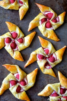 Raspberry Cream Cheese Pinwheel Pastries - these are just so lovely! A perfect treat for a sweetheart. On JustATaste.com