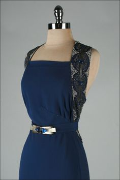 Vintage 1930's Petrol Blue Jeweled Bias Gown with Belt | From a collection of rare vintage evening dresses at http://www.1stdibs.com/fashion/clothing/evening-dresses/