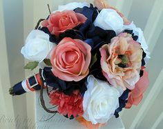 Wedding bouquet coral navy white calla by BrideinBloomWeddings