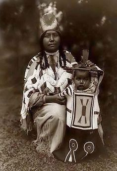 Indians of North America. | Cayuse Indian Mother and Child, 1910 by Edward S. Curtis.
