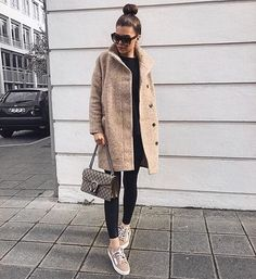 Blush sneakers and cozy wool, we are loving @ivanikolina's girl on the go attire | Shop her look with www.LIKEtoKNOW.it | http://liketk.it/2puXg #liketkit