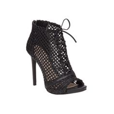 Women's Jessica Simpson Rendy Open-Toe Bootie ($89) ❤ liked on Polyvore featuring shoes, boots, ankle booties, black, casual, stilettos, lace-up bootie, open toe lace up bootie, leather ankle boots and black lace up booties