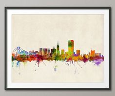 San Francisco Skyline, Art Print - 12x16 up to 24x36 inch. $21.63+