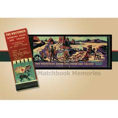 The Westerner Matchbook Print - Gambling Casino, Gift For Men, Home Decor…
