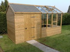 storage shed with greenhouse attached keeps all your gardening needs ...