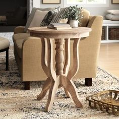 Ignazio Pedestal Table from Birch Lane Birch Lane, Raw Wood, Solid Wood, Bleached Wood, Wood Pedestal, Pedestal Tables, Chair Side Table, Side Tables, Natural Area Rugs