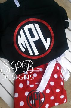 Glitter / Foil Monogrammed Polka Dot Pajama Sets~ Flannel PJ Sets With monogrammed tee and matching monogram pants.