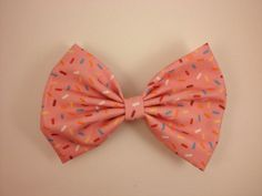 Cupcake pink sprinkles oversized hair bow french barrette clip