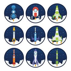 Coloured spaceships collection Free Vector