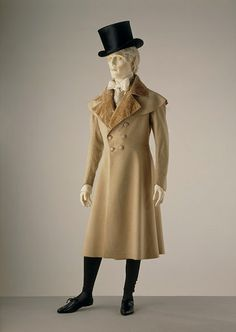 Frock coat Wool, trimmed with silk velvet, lined with silk, hand sewn.  c1820-1830