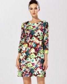 DR000380 Big skirt printing dress pinched waist lady skirt