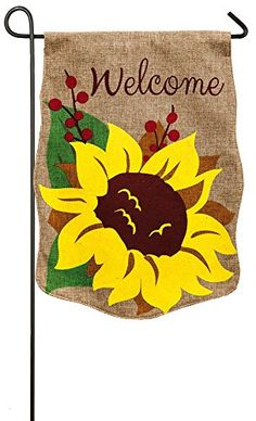 Evergreen Burlap Welcome Sunflower Garden Flag, 12.5 x 18 inches Evergreen Flag & Garden http://www.amazon.com/dp/B00Y3C57MM/ref=cm_sw_r_pi_dp_yz.Vvb0BPZB6T