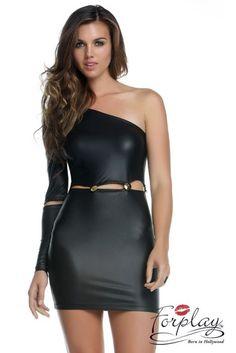 Wetlook Mini-robe Avec Latéral Cutouts et large de gros élastiques