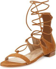 Stuart Weitzman Tie-Up Suede Gladiator Sandal, Camel - ShopStyle Women