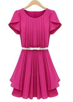 Chic Round Neck Petal Sleeve Pleated Dress with Belt