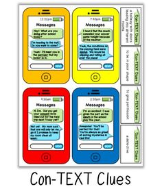 Context clues activity: FREE Literacy Games from the Classroom Game Nook. This download includes 12 phones and a recording sheet!