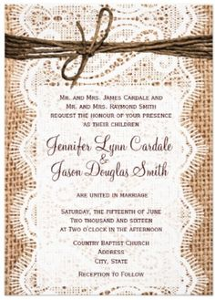 Wedding invitations sunflower wedding invitation rustic burlap and - 1000 Images About Western Wedding Invitations On