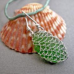 Netted Sea Glass Necklace  Silver Silk and by NinaGibsonDesigns, $78.00