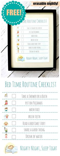 Bedtime Routine FREE Printable : Erase nightly to keep on task for Bed time, makes getting ready for bed EASY for parents and FUN for kids - simple print free printable and put in frame, dry erase marker makes it reusuable Bedtime Chart, Bedtime Routine Chart, Bedtime Routine Printable, Yoga Routine, Beauty Routine Checklist, Routine Planner, Night Time Routine, Back To School Crafts, Charts For Kids