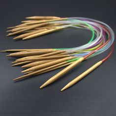 """Multi-color 18-piece set of 16"""" 40cm Tube Carbonized Circular Bamboo Knitting Needles"""
