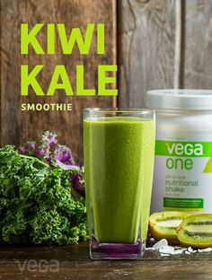 Kiwi Kale Smoothie: You'd never know there were three servings of greens in this light smoothie. This Kiwi Kale Smoothie is a great way to start your day. Give you and your family the energy you need for your busy schedule. #VegaSmoothie
