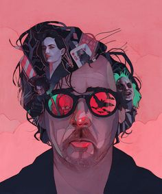 Patryk Hardziej This is a great portrait of Tim Burton.  It shows his characters and films in his glasses and hair.  The colors are exaggerated and would fit into a Burton film like Edward Scissorhands.  https://vimeo.com/116785905