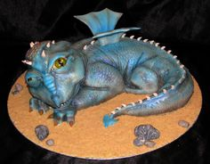 Fantasy/Gothic/Fairytale - Sleepy baby dragon cake for a christening