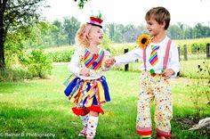 Boys Clown Costume - Clown Pants, Clown Mini Tie shirt, Suspenders and Pin. $55.00, via Etsy.