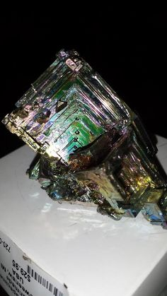 Manmade Bismuth crystals.  Good for teachers because it shows off crystal formation available at The Sand & Stone Gallery in Holland, MI.