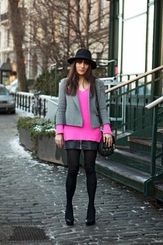 Bright pink with neutrals on the street of Stockholm, photo by The Locals