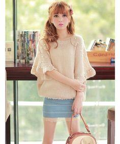 Women Pearl, Loose 3/4 Bat Sleeves Sweater Top trueglitter.com
