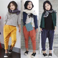 GL2004 2016/17 AW Trendy Girl's Fashion Casual Loose Jersey Pants (Mustard, Orange, Grey Blue)