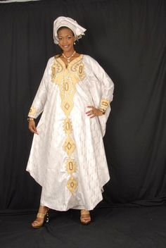 White African brocade grand boubou with gold embroidery ~Latest African Fashion… African Print Dresses, African Dresses For Women, African Attire, African Wear, African Fashion Dresses, African Women, Nigerian Fashion, Ghanaian Fashion, African Prints