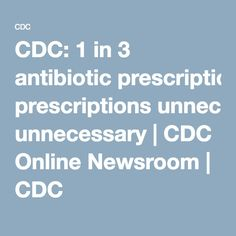 CDC: 1 in 3 antibiotic prescriptions unnecessary | CDC Online Newsroom | CDC
