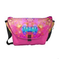 Pink Stars & Bubbles Fractal Pattern Messenger Bag $84.35