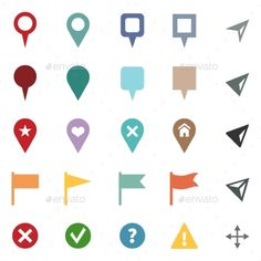 Vector Set of GPS Icons - Map Markers and Pointers — Vector EPS #app #navigation • Available here → https://graphicriver.net/item/vector-set-of-gps-icons-map-markers-and-pointers/10669917?ref=pxcr