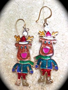 Reindeer santa vintage earrings by JNPVintageJewelry on Etsy, $10.00