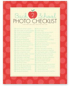 Lists of pictures to take for: everyday, spring, summer, fall, travel, kids, and back to school. Because I really need more lists of things to do ;)