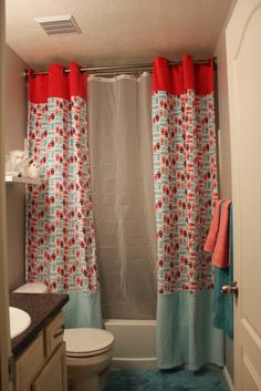 Blue And Orange Marcone Shower Curtain